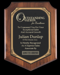 Walnut Finish Shield Plaque Achievement Awards
