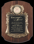 Walnut Cast Corporate Scalloped Plaque Sales Awards