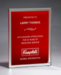 Glass Plaque with Red Center and Mirror Border Sales Awards