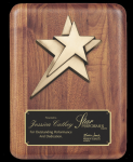 Rounded Edge Solid Walnut W/ Star Casting Walnut Plaques